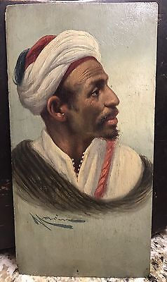 19th Century Signed Orientalist portrait oil Painting On Panel