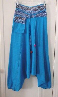 Harem Pants Womens One Size Blue Ethnic Pocket Drop Crotch Halloween Costume