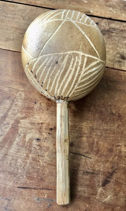 "One Vintage Maraca Percussion Shaker Hand Carved Wood  12"" Length"