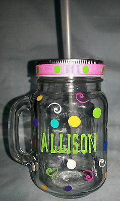 PERSONALIZED Mason Jars with handle and lid for straw!  - Design your own!