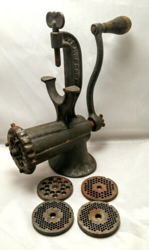 Vintage Enterprise #10 Tinned Manual Meat Grinder with blades