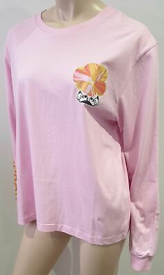 HOUSE OF HOLLAND Pale Pink Cotton Floral Print Long Sleeve T-Shirt Tee Top UK12