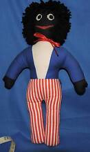40cm gollywog boy lovely stroiped pants blue white top black hair Port Macquarie Port Macquarie City Preview