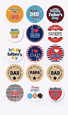 Father's Day 1 inch 15 pc Precut Bottle Cap Images Best Dad ever I love