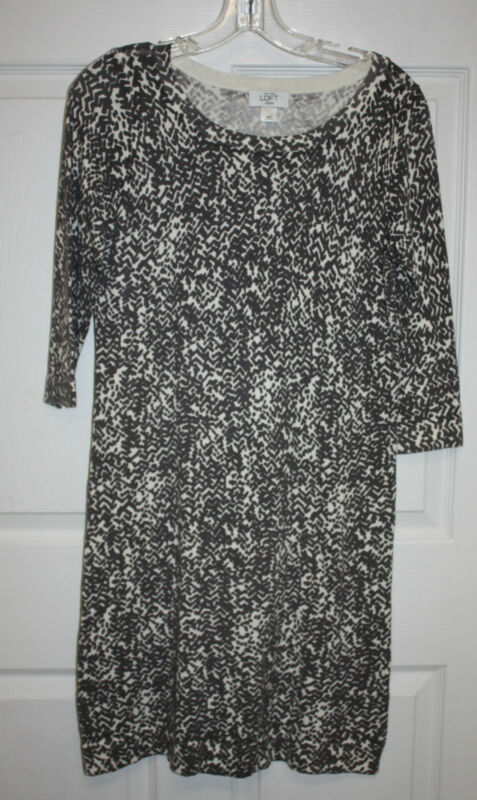 Womens Ladies Ann Taylor Loft Ivory Gray 3/4 Sleeve Knit Dress Size Petite Med