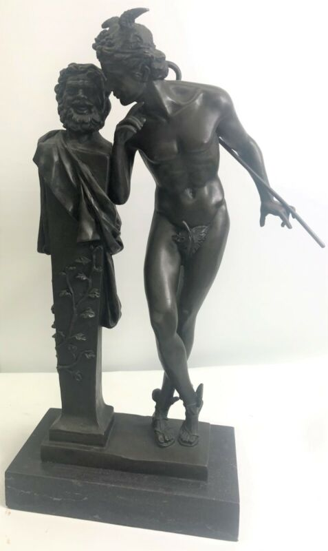 Rendition Of Hermes Whispering to Herm And Bronze Sculpture Figurine Figure