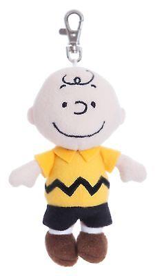 """PEANUTS 5"""" Charlie Brown Keyring Clip Cuddly Soft Toy Teddy by AURORA Snoopy"""