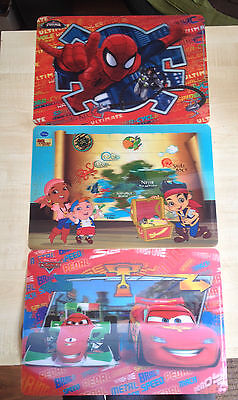 (Disney 3D Placemat/ Childrens Deskmat/ Spiderman, Cars,Jake & The Never land FUN)