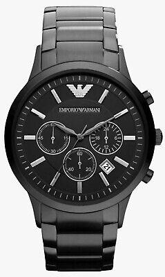 • Emporio Armani AR2453 Herren Armbanduhr Chrono Schwarz Edelstahl Neu •
