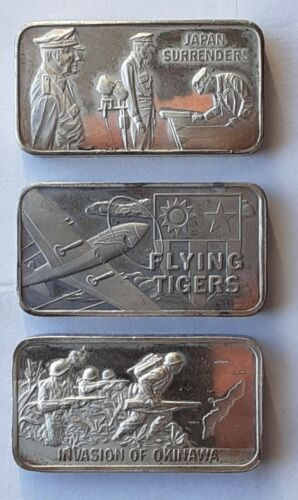 History of World War 2, Pacific Theater 1 Troy Oz 3 sterling silver ingots