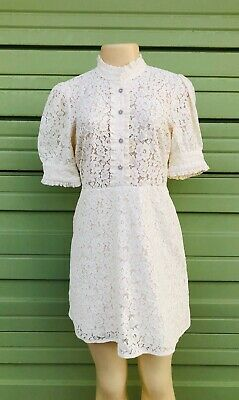 NWD ZARA WOMAN OFF WHITE LACE DRESS WITH RHINESTONE BUTTONS Size XL #1990