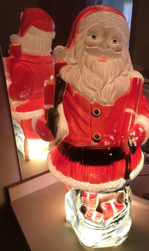 """Rare 1973 Dapol Large Santa w/Toy Bag 32"""" Green Eyed Blow Mold Christmas No.503"""
