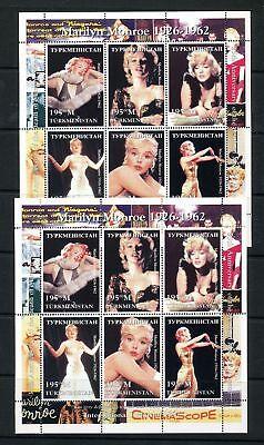 TURKMENISTAN Marilyn Monroe Movies Cinema Mini Sheet MNH x 2 DAB 683