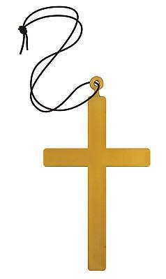 Großer Goldener Mönch Kreuz Nonne Pfarrer Priester Kostüm Zubehör Geistlicher ()