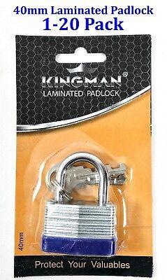 Heavy Duty Laminated (40mm Heavy Duty Laminated Padlock Brass pin tumbler Garage, security 2.25