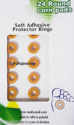 24 pk Round Corn Foam Cushion Adhesive Protective Ring Pads Plasters Foot Toe