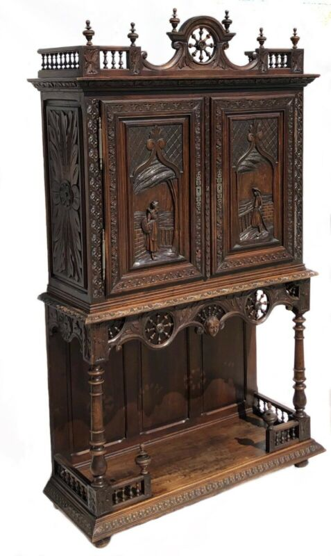 Hand carved antique furniture server bar cabinet