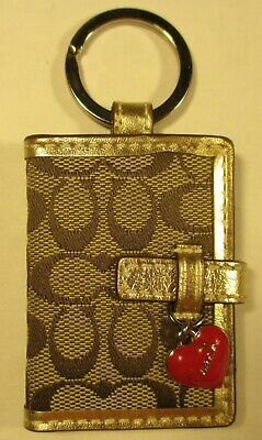 Coach NEW Key Ring Photo Album Red Heart Brown -