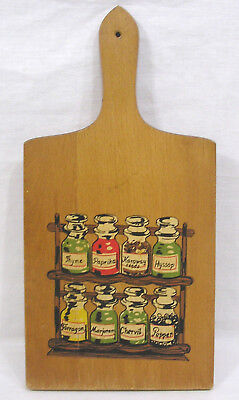 Vintage Kitchen Wood Cutting Board with Spice Rack Imagery 1967