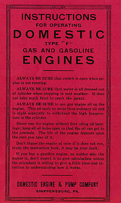 Domestic Type F Gas Motor Engine Instruction Pump Co Manual Book Pump Hit Miss