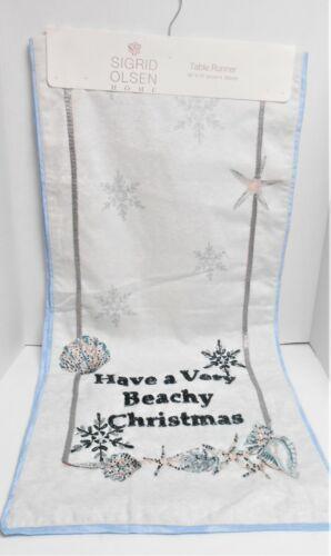 Sigrid Olsen Beach Theme Christmas Embellished Blue & Silver Table Runner