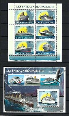 Comoros 2008 Sc#1011-12  Ocean Liners  MNH Miniature & Souvenir Sheet Set $32.50