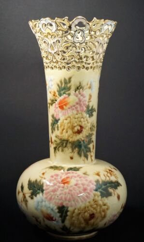 Large Early Zsolnay Pecs Pottery Reticulated Neck Pink Hand Painted Mums - B
