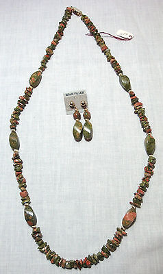 """30"""" Unakite Green/Salmon Stone Necklace & Matching Gold-Filled Earrings MSRP $48"""