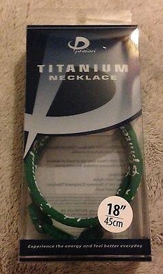 Aqua Titanium Necklace - Phiten Titanium Necklace 18 inch Green Star Aqua-Titanium Single Strand New
