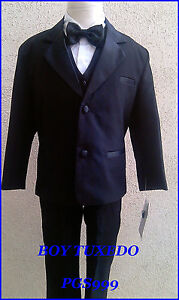 NEW-BLACK-BOY-INFANT-TODDLER-TEEN-TUXEDO-WITH-VEST-BOW-TIE-FORMAL-SUIT-ALL-SIZE