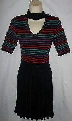 Candies black multi choker neckline sweater dress Large NWT 58.00