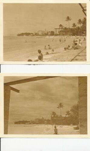 1930 Royal Hawaiian Hotel & Moana, Waikiki Hawaii Two 5x7 Photos sepia tone