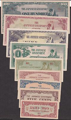 Burma MONEY 1942-1944 ISSUED JAPANESE OCCUPATION  9 - NOTES SET, UNC/AU