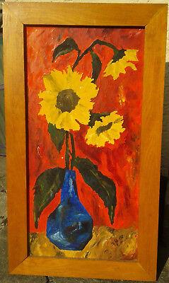 Sonnenblumen in Vase – Ch. Gobs, 1968 – Öl – Bild 29 x 59 cm – Rahmen 40 x 70 cm