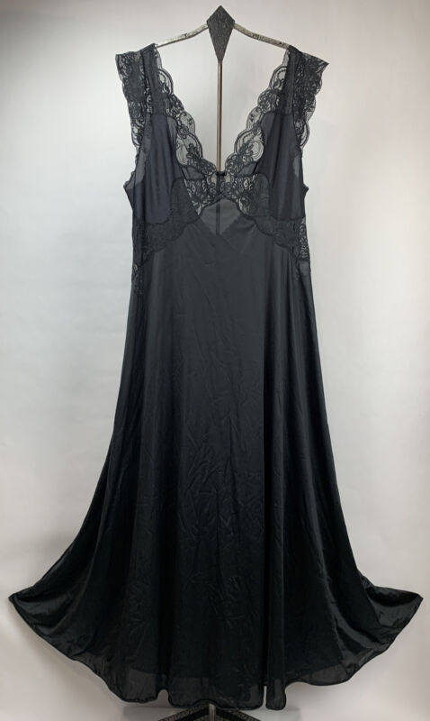 Vtg Vanity Fair Nylon Night Gown Plunge V Neck Lace Accents Maxi Black USA Sz L