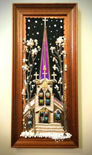 VINTAGE JEWELRY FRAMED ONE OF A KIND ARTWORK DECOR GIFT CHURCH