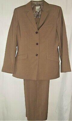 Womens ANNE KLEIN 2 Piece Pant Suit SIZE 8 Tan Pinstriped 3 Button Jacket Ladies