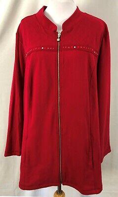 New CJ Banks Womens Jacket Top Full Zip Solid Red Stud Beads Long Sleeves 3X Full Sleeved Beaded Jacket