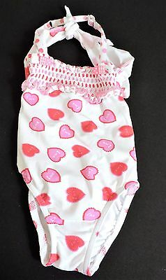 Pate De Sable 12M Baby Girls Swimsuit French Bathing Suit Love Hearts White Pink
