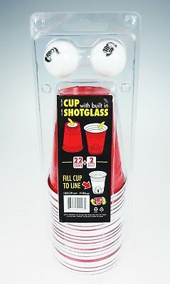 Red Party Cups with Built-in Shotglass (22 Cups & 2 Pong Balls) & CANDY! (Plastic Cups With Shot Glass Built In)
