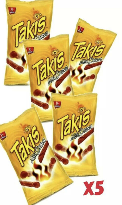 TAKIS SALSA BRAVA Mexican chips BARCEL 5 BAGS, (68 G EACH)