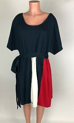 Patriotic Dress Womens (eShakti Womens Dress Red White Blue Patriotic Short Sleeve Belted Pockets 1X)