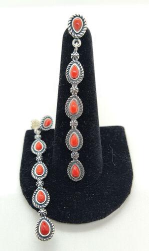 Carolyn Pollack American West 925 Red Coral Drop/Dangle Earrings - NWOT - 8.30 G
