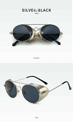 Vintage Steampunk Sunglasses Side Shield Gothic Hipster Round Glasses Silver (Steampunk Shield)