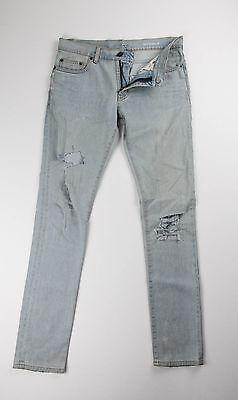 Saint Laurent Paris D02 Ripped Light Wash Stretch Denim Jeans 28 30 x 32 $750