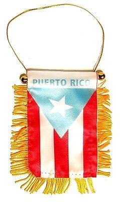 Puerto Rico Mini Banner 4 x 6 Flag Car Window Hanger Rear View PR Rican #3