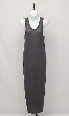 Isabel Benenato Taupe Brown Wool Angora Blend Stretch Maxi Tank Dress Size 46