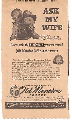 1945 Roanoke Times Roanoke Virginia Old Mansion Coffee Advertisement