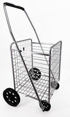 Folding Shopping Cart For Grocery Laundry Cart Size 35 X 21 X 16 Inchesgray