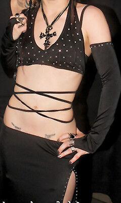 Sexy Clubwear Set Rock Top Armstulpen weiß Gogo - Neckholder Ärmellos Kostüme